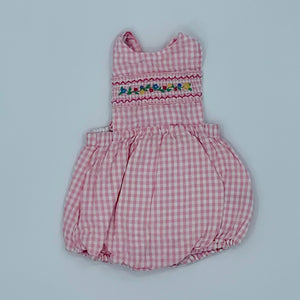 Hardly Worn Jojo Maman Bebe pink checked summer set size 12-18 months
