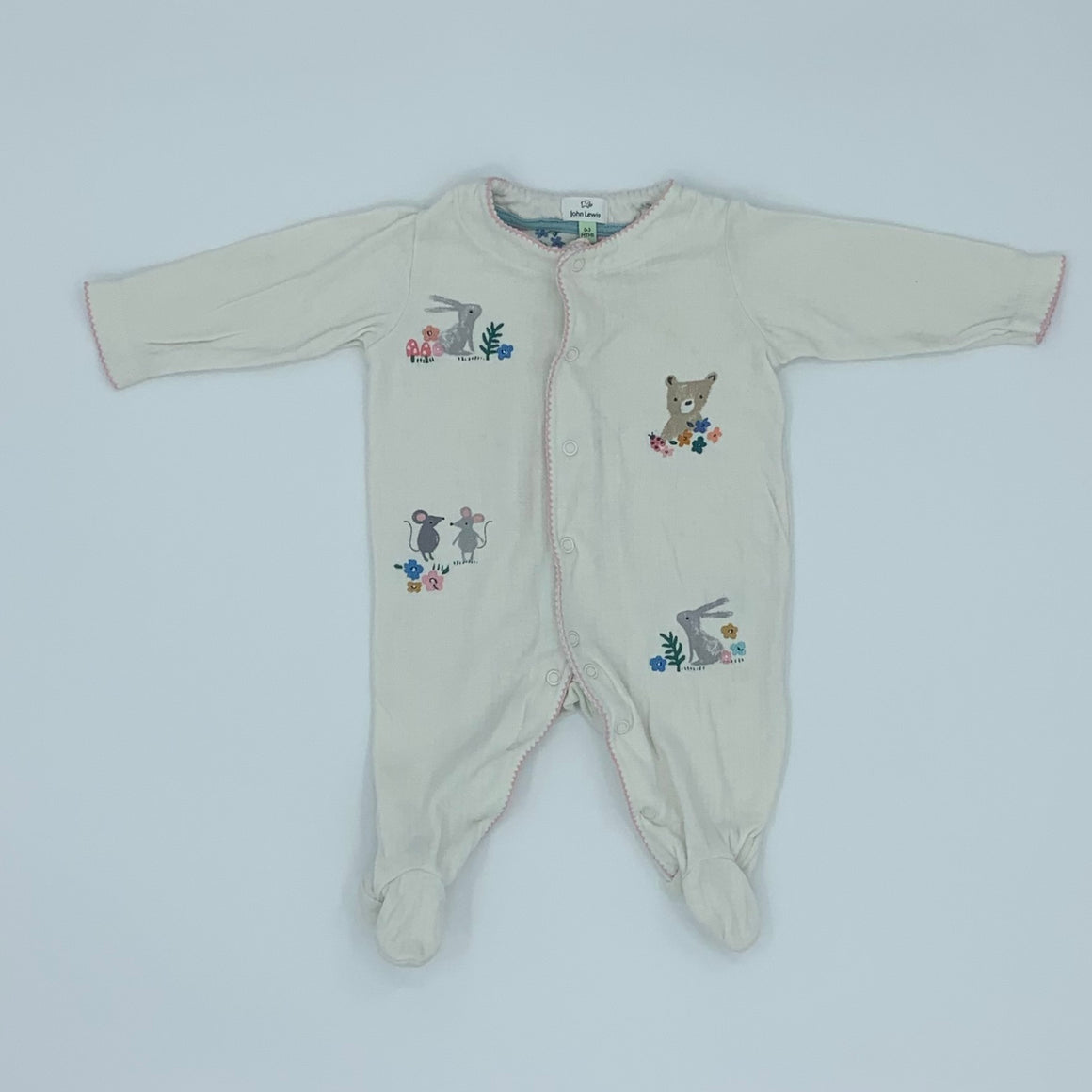 Needs TLC John Lewis embroidered sleepsuit size 0-3 months