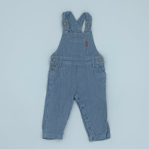 Gently Worn Kite ticking dungarees size 6-12 months