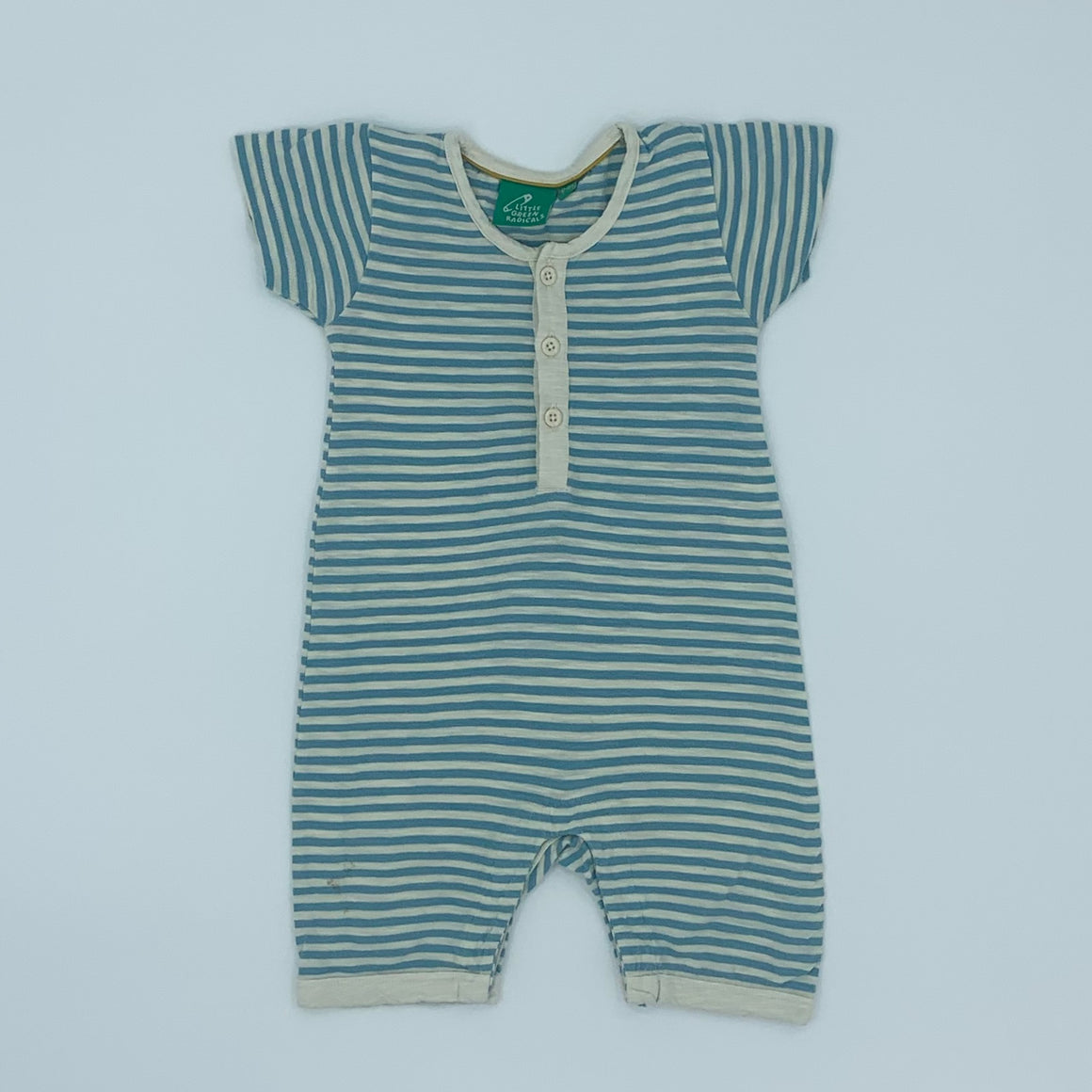 Gently Worn Little Green Radicals blue striped summer romper size 12-18 months
