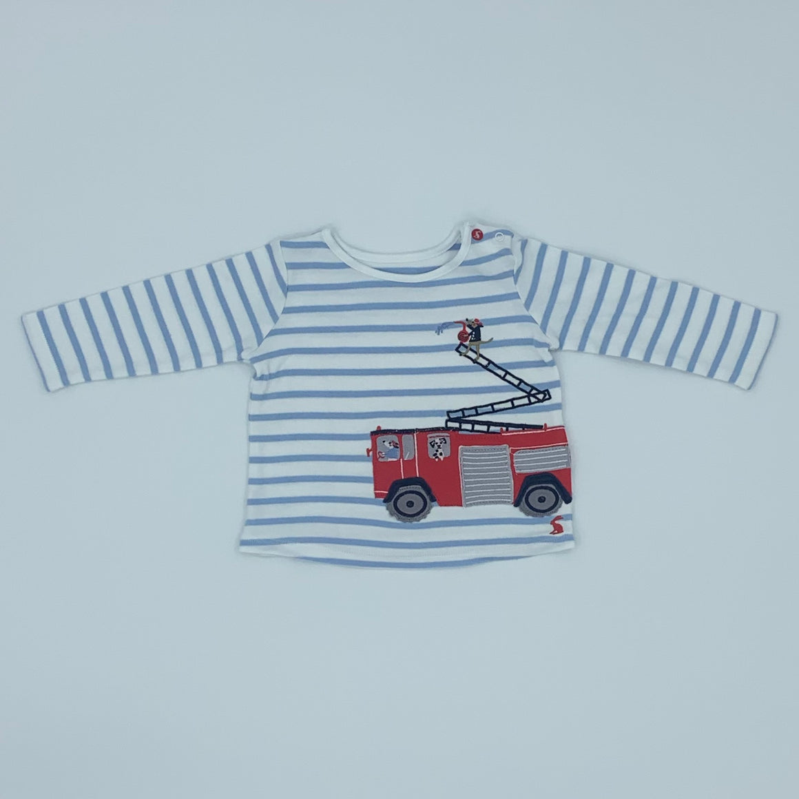 Hardly Worn Joules striped fire engine top size 6-9 months