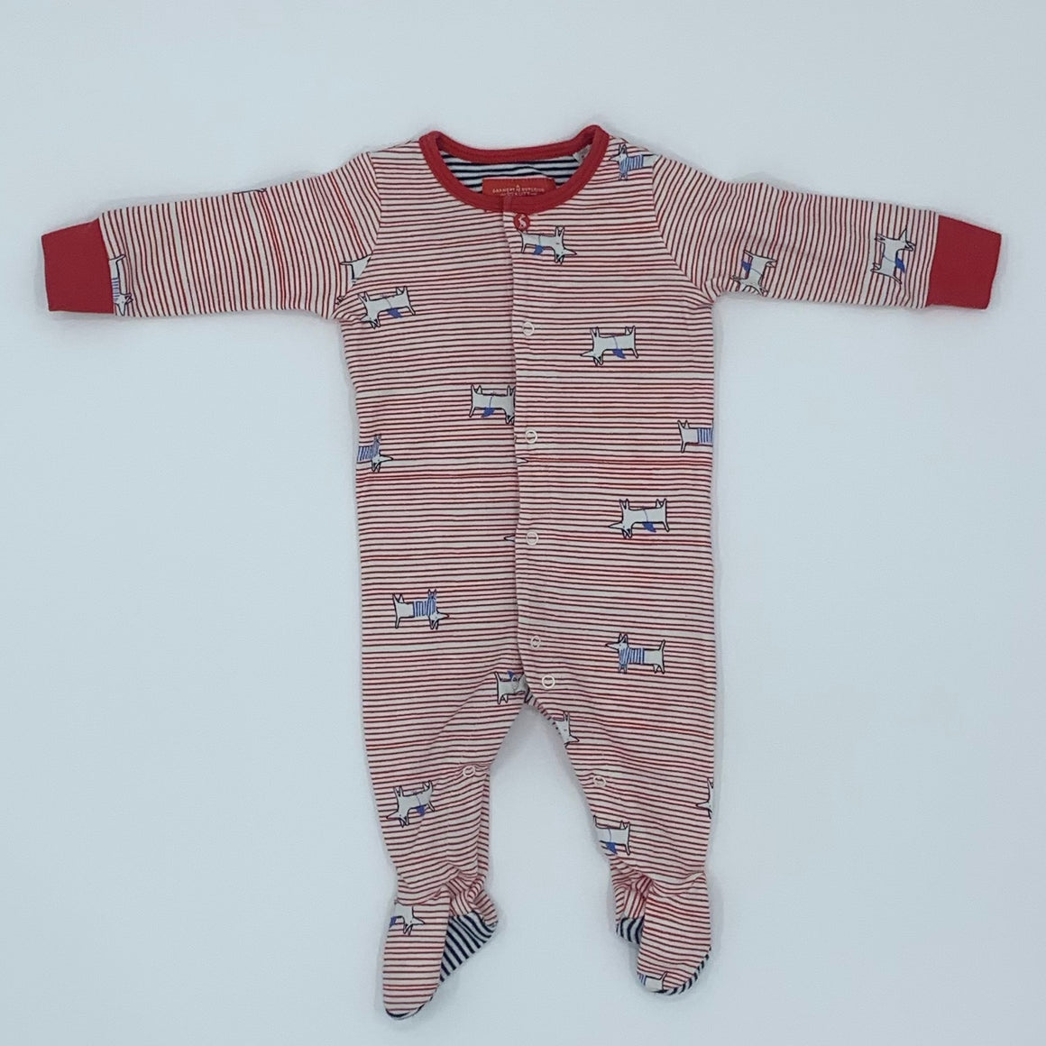 Hardly Worn Joules doggy sleepsuit size 0-3 months