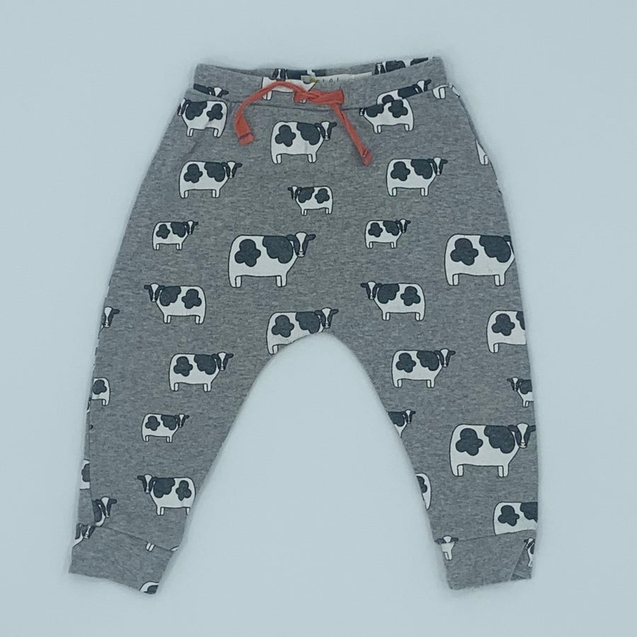 Gently Worn Boden grey cow joggers size 6-12 months