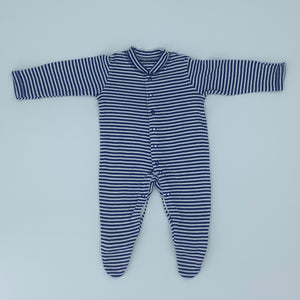 Hardly Worn John Lewis dark blue striped sleepsuit size 0-3 months