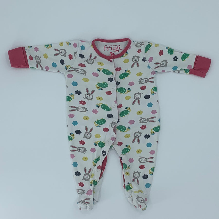 Gently Worn Frugi white bunny sleepsuit size 0-3 months