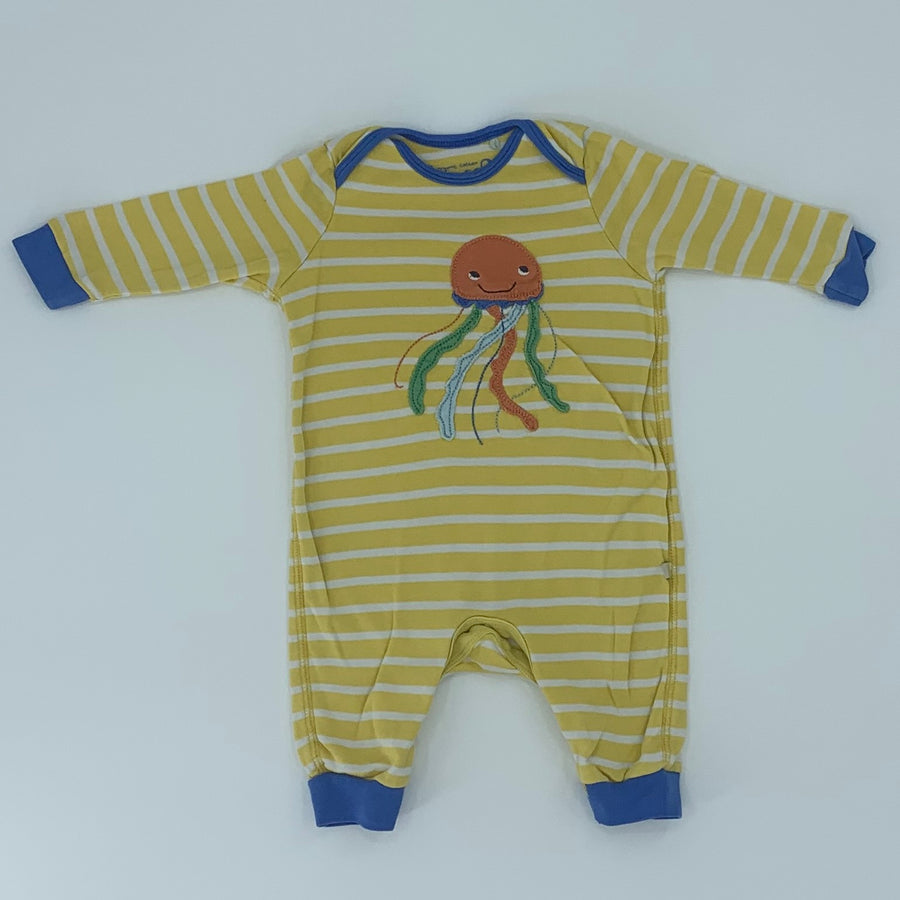 Gently Worn Frugi striped octopus romper size 3-6 months