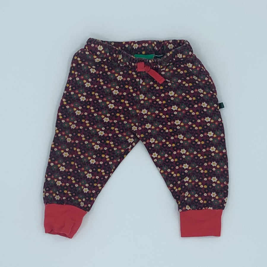 Gently Worn Little Green Radicals flower joggers size 9-12 months