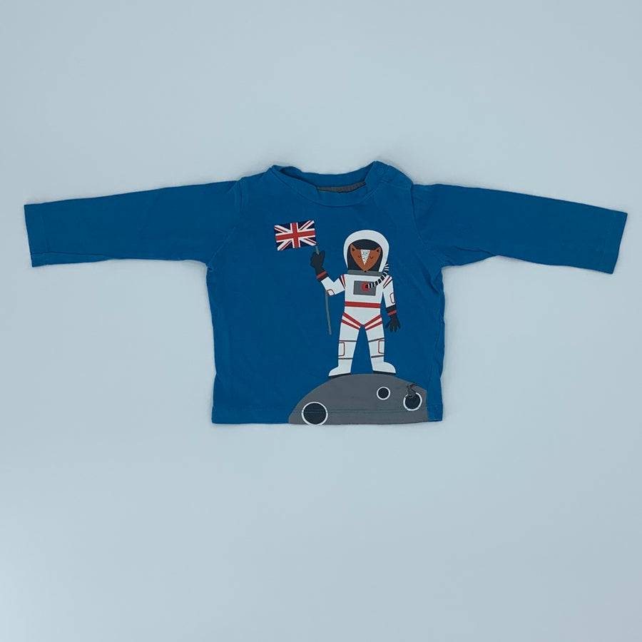 Gently Worn Joules blue astronaut-fox top size 6-9 months
