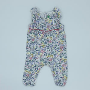 Hardly Worn John Lewis flower romper dungarees size 6-9 months