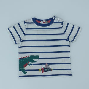 Hardly Worn John Lewis striped dinosaur t-shirt size 9-12 months