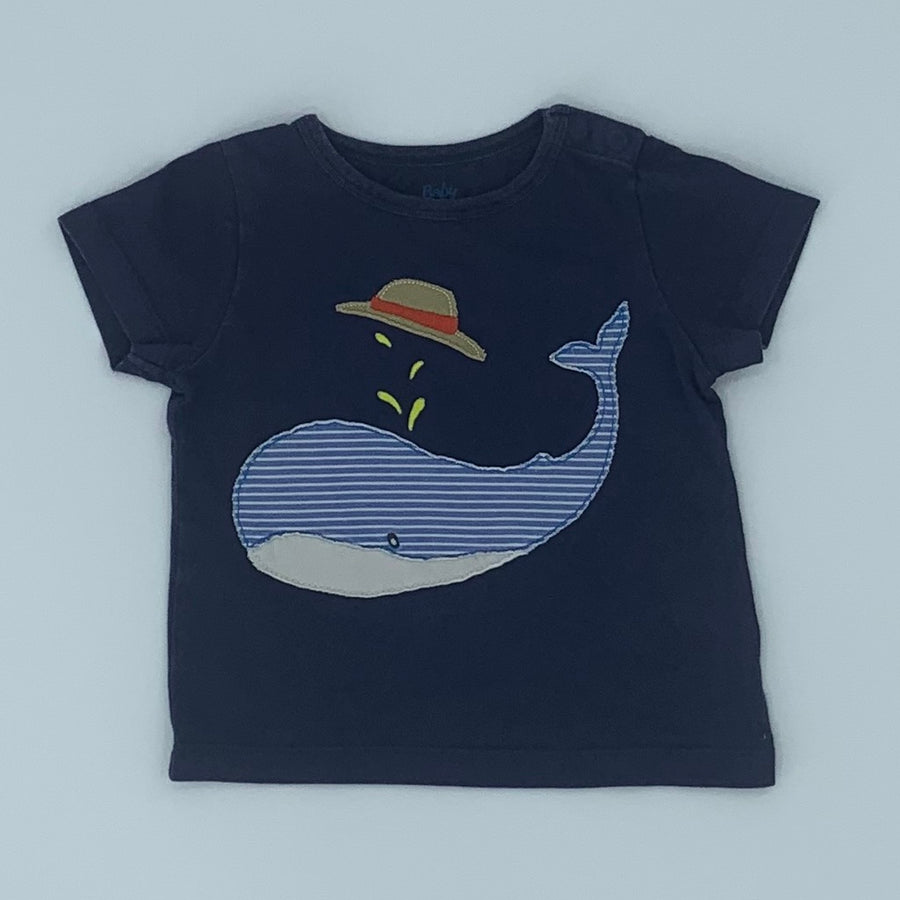 Gently Worn Boden navy whale t-shirt size 6-12 months