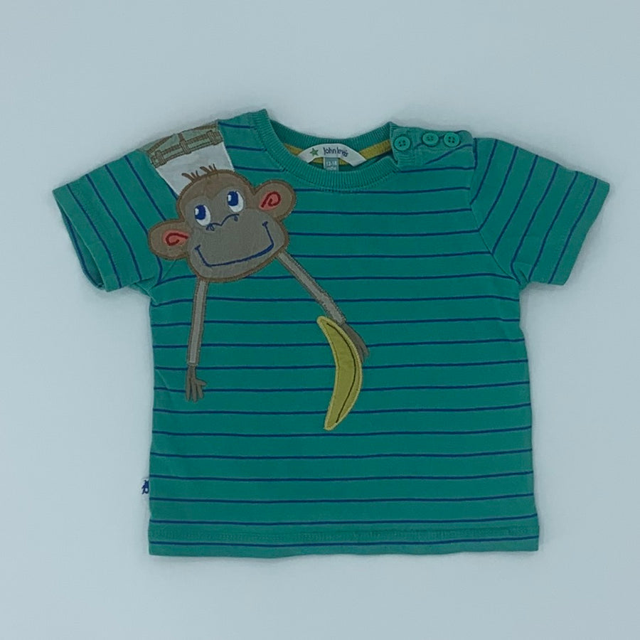 Gently Worn John Lewis striped monkey t-shirt size 12-18 months