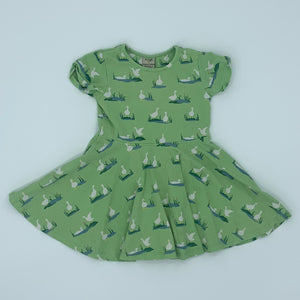 Hardly Worn Frugi green duck dress size 2-3 years