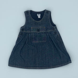 Hardly Worn Petit Bateau denim dungaree dress size 3-6 months
