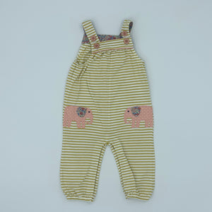 Hardly Worn Boden striped elephant romper dungarees size 6-12 months