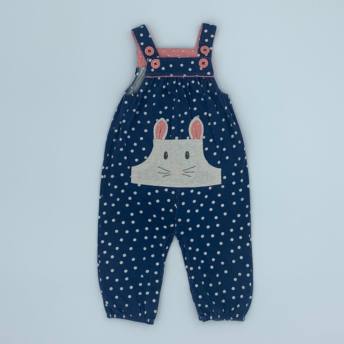 Gently Worn Boden blue mouse romper dungarees size 6-12 months