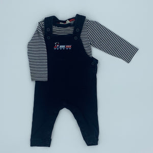 Gently Worn Jojo Maman Bebe navy train romper set size 6-12 months