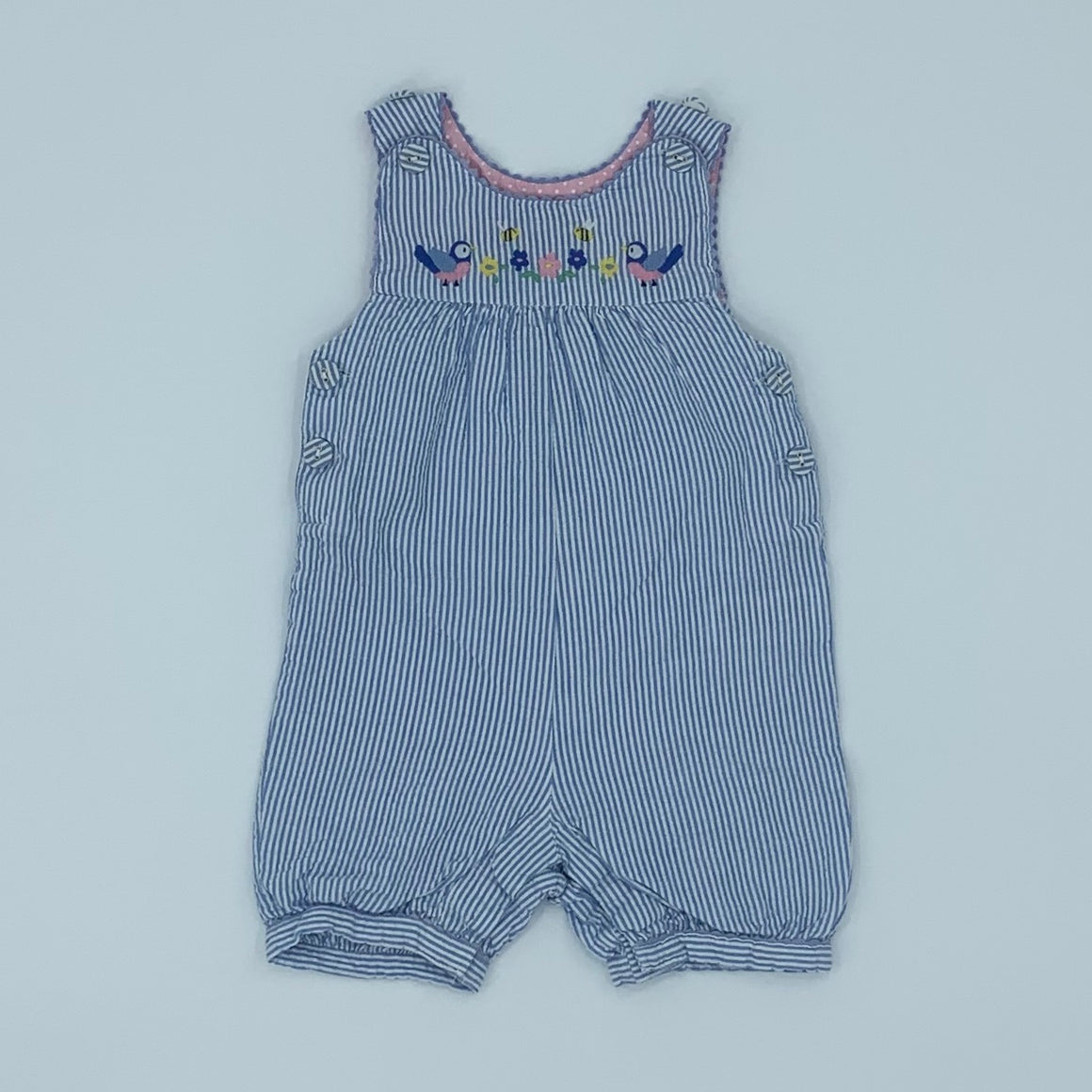 Hardly Worn Jojo Maman Bebe blue check romper dungarees size 6-12 months