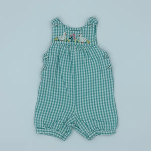 Hardly Worn Jojo Maman Bebe green check romper dungarees size 6-12 months