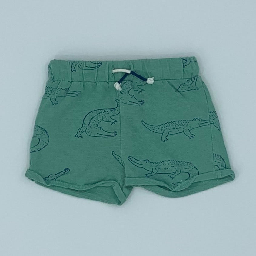 Hardly Worn Boden green crocodile shorts size 3-6 months