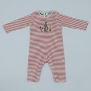 Hardly Worn Boden striped bunny romper size 6-12 months
