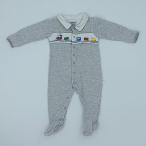 Hardly Worn Jojo Maman Bebe striped train sleepsuit size 9-12 months