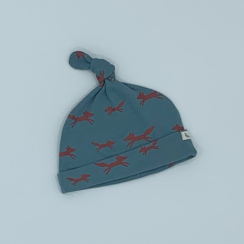 Hardly Worn Pigeon Organics fox knotted hat size 6-12 months