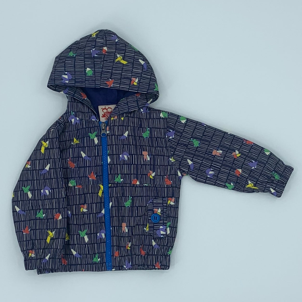 Hardly Worn Tootsa McGinty geometric hooded jacket size 6-12 months