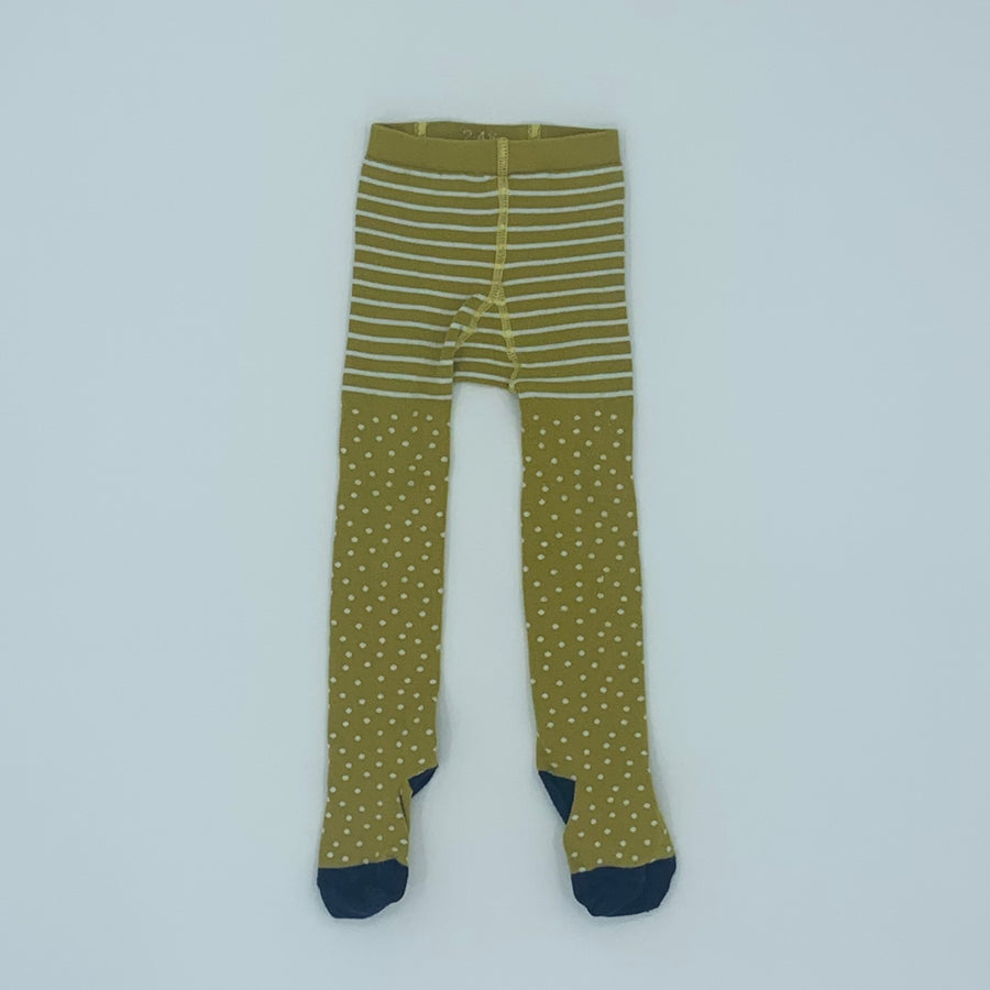 Gently Worn Frugi yellow knitted tights size 2-4 years