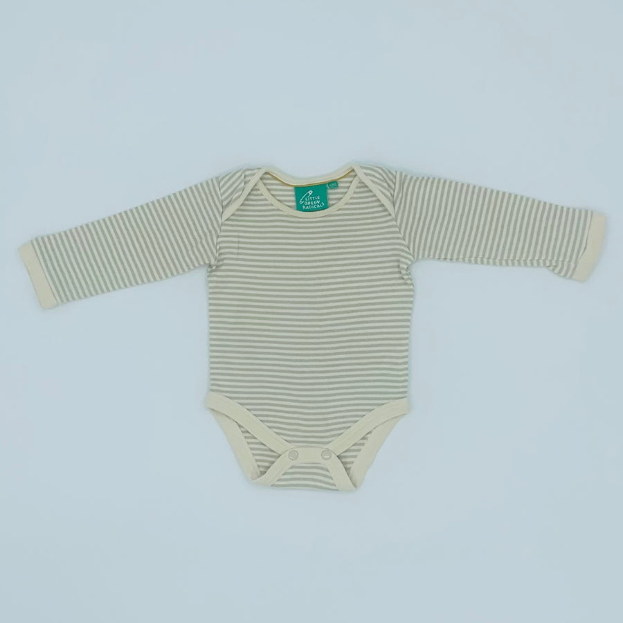 Hardly Worn Little Green Radicals cream striped bodysuit size 6-9 months