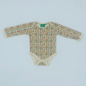 Gently Worn Little Green Radicals flower bodysuit size 6-9 months