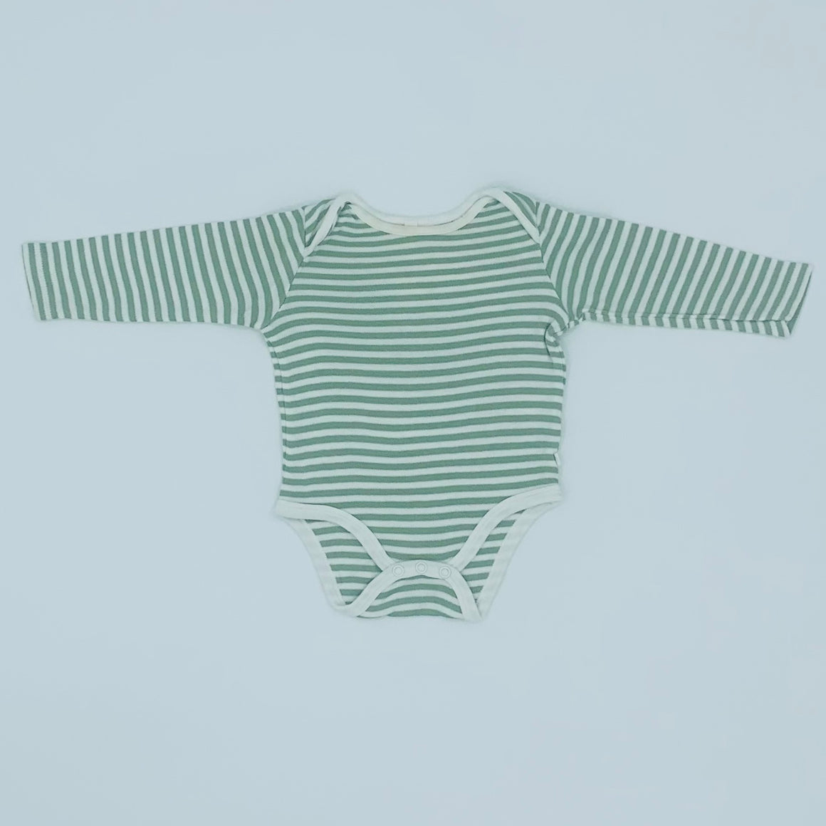 Gently Worn Baby Mori sage striped bodysuit size 6-9 months