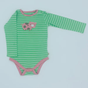 Hardly Worn Frugi striped piggy bodysuit size 2-3 years