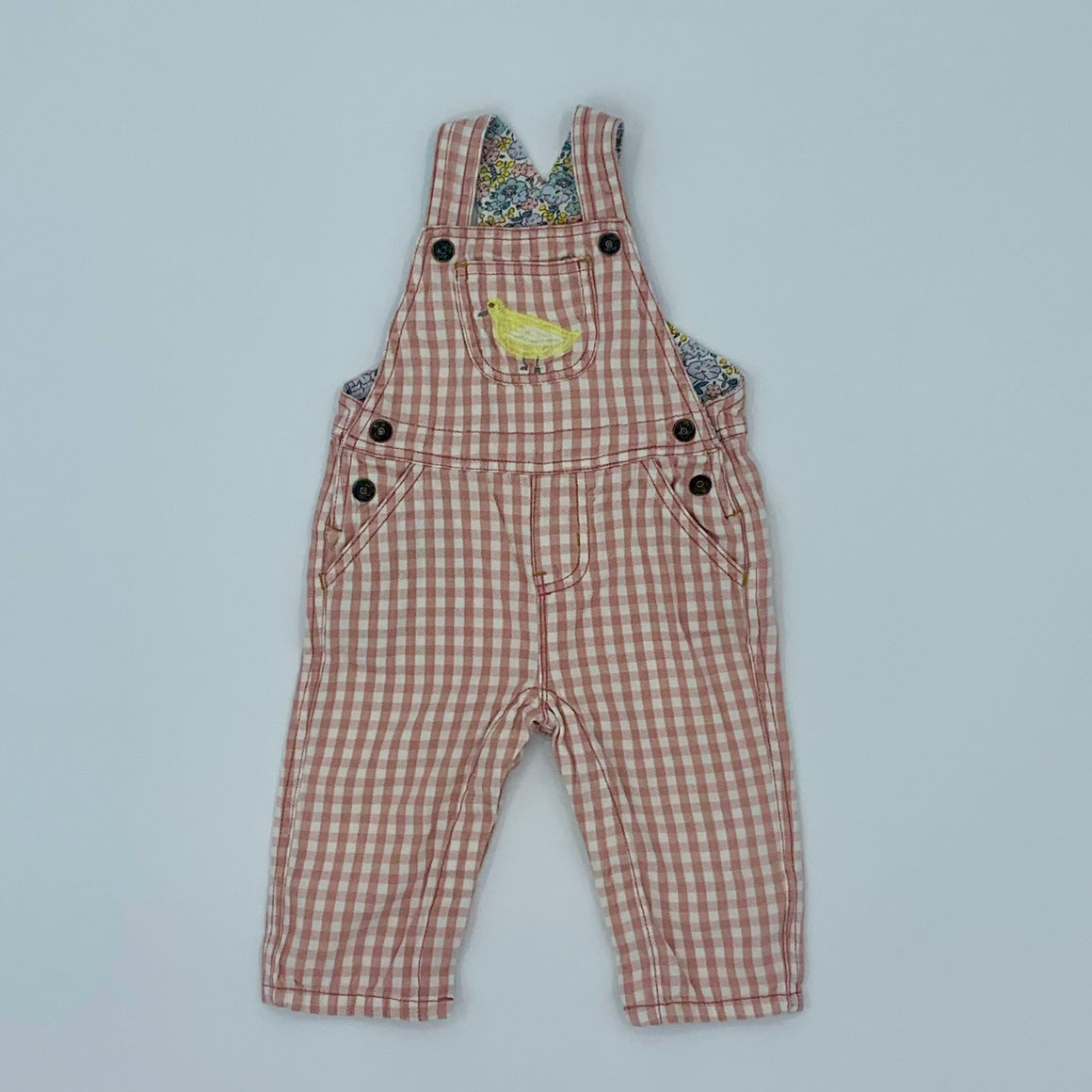 Gently Worn Boden pink check dungarees size 6-12 months