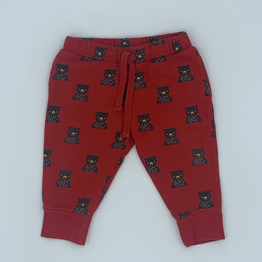 Hardly Worn Little Green Radicals red bear joggers size 9-12 months