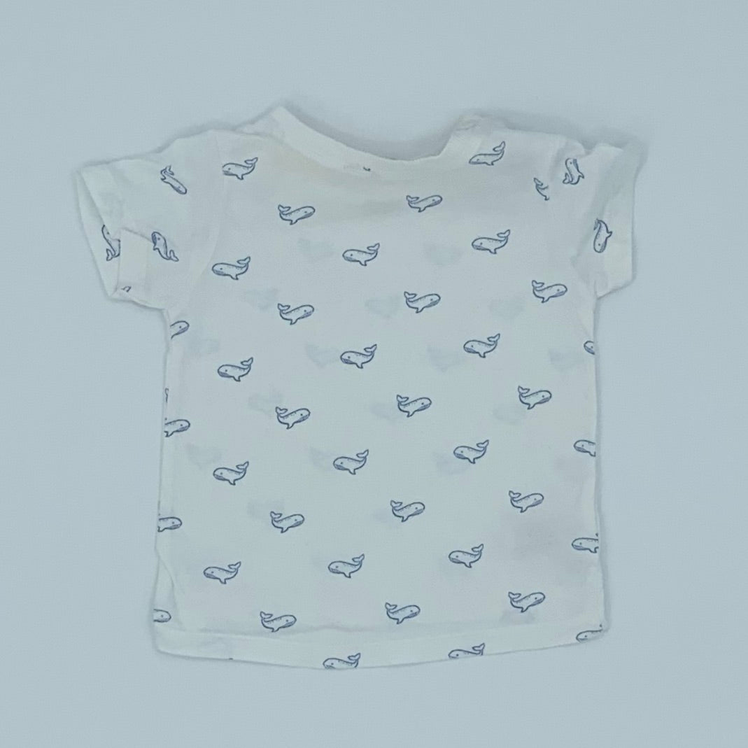 Gently Worn John Lewis whale t-shirt size 6-9 months