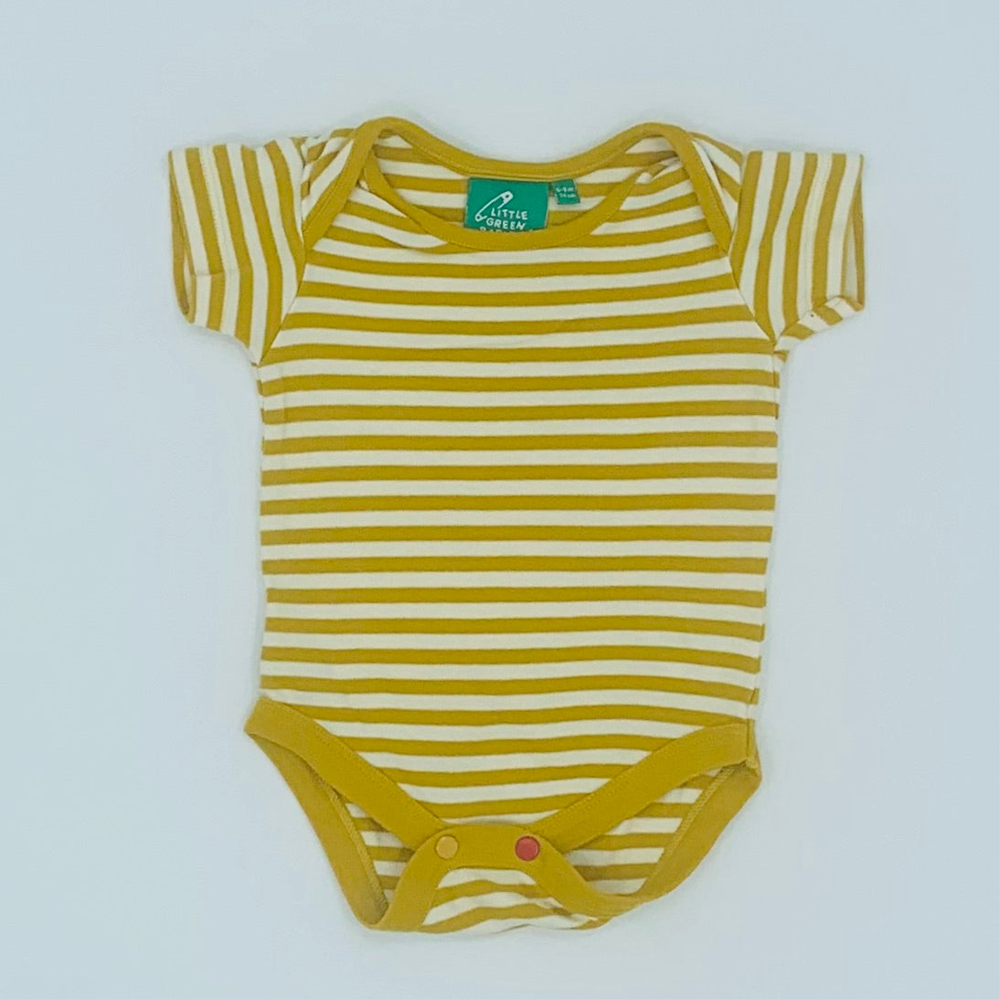 Hardly Worn Little Green Radicals yellow stripe bodysuit size 6-9 months