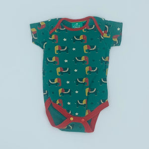 Gently Worn Little Green Radicals green elephant bodysuit size 9-12 months