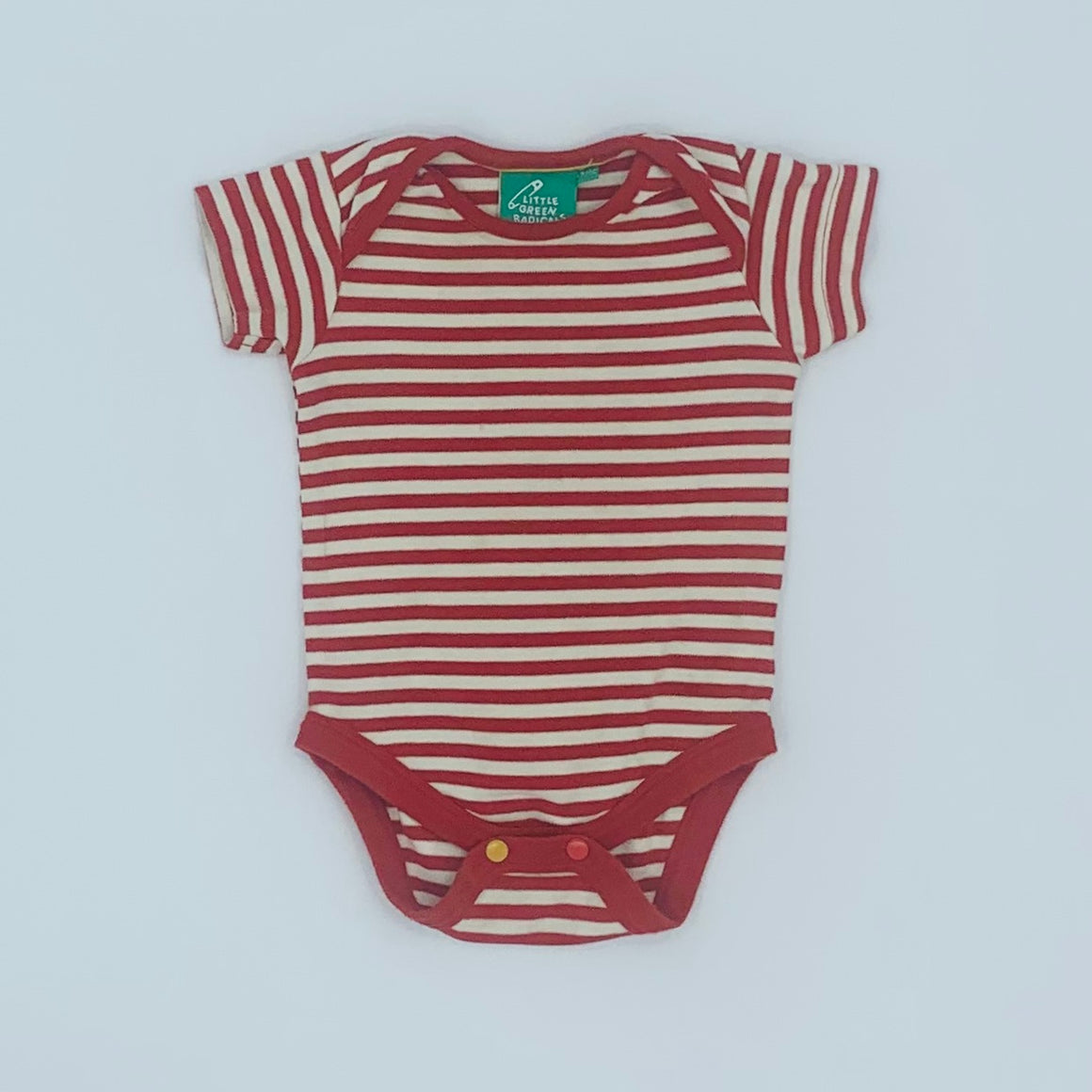 Hardly Worn Little Green Radicals red stripe bodysuit size 9-12 months