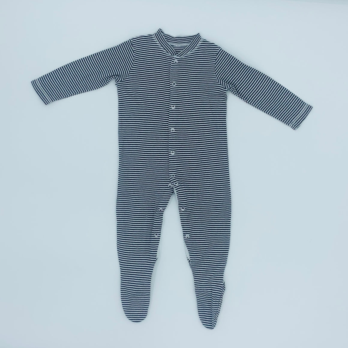 Hardly Worn John Lewis grey striped sleepsuit size 9-12 months