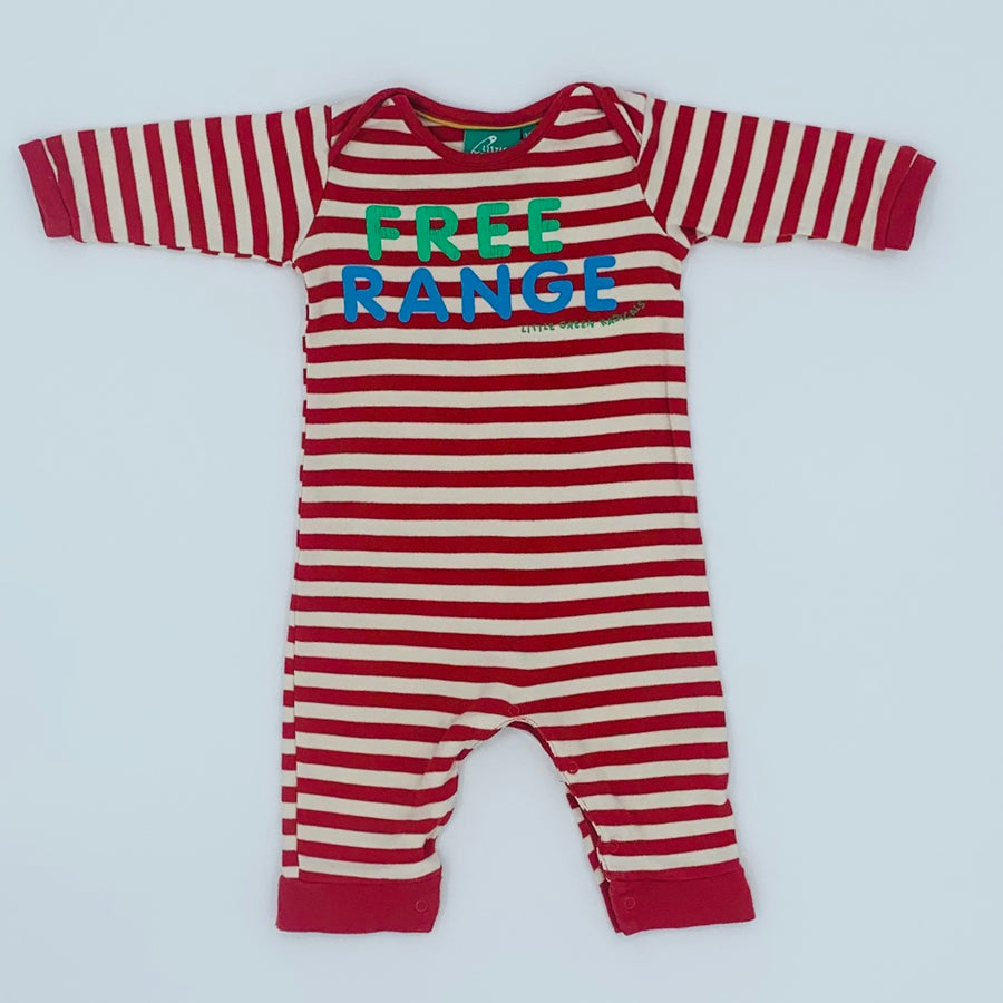 Gently Worn Little Green Radicals FREE RANGE romper size 3-6 months
