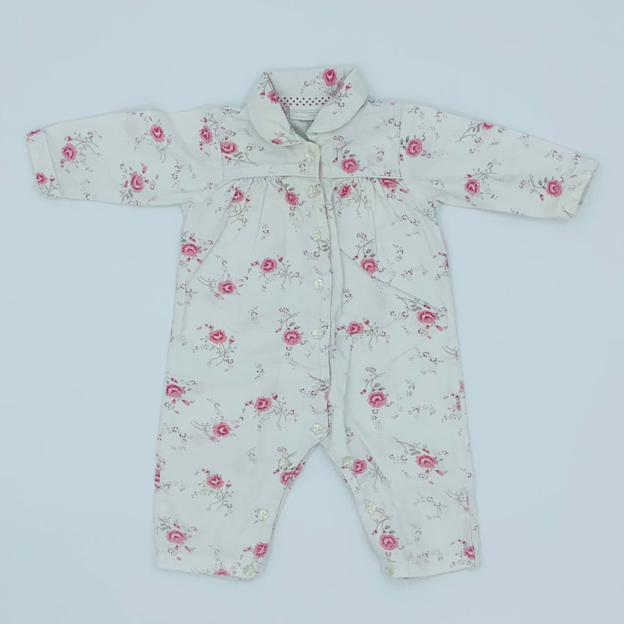 Gently Worn The White Company flower romper size 9-12 months