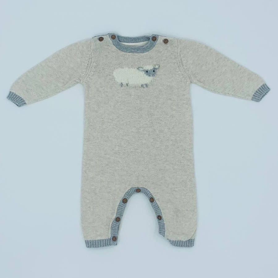 Hardly Worn John Lewis knitted sheep romper size 0-3 months