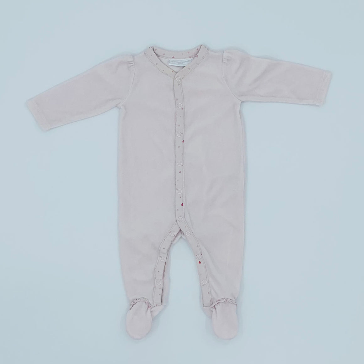 Hardly Worn The White Company pink velour sleepsuit size 3-6 months