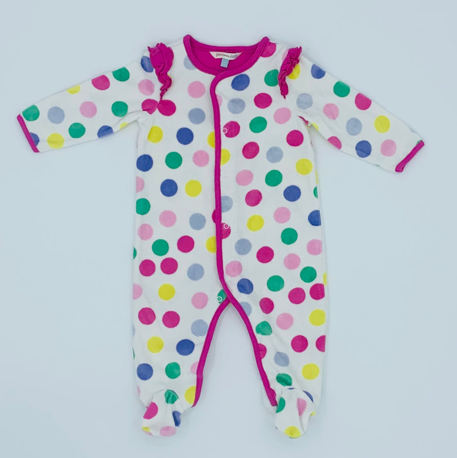 Hardly Worn John Lewis spotty velour sleepsuit size 3-6 months