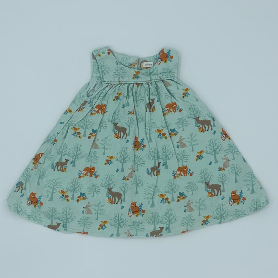 Hardly Worn John Lewis forest animal corduroy dress size 9-12 months