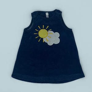 Gently Worn Maxomorra blue-ink velour dress size 9-12 months