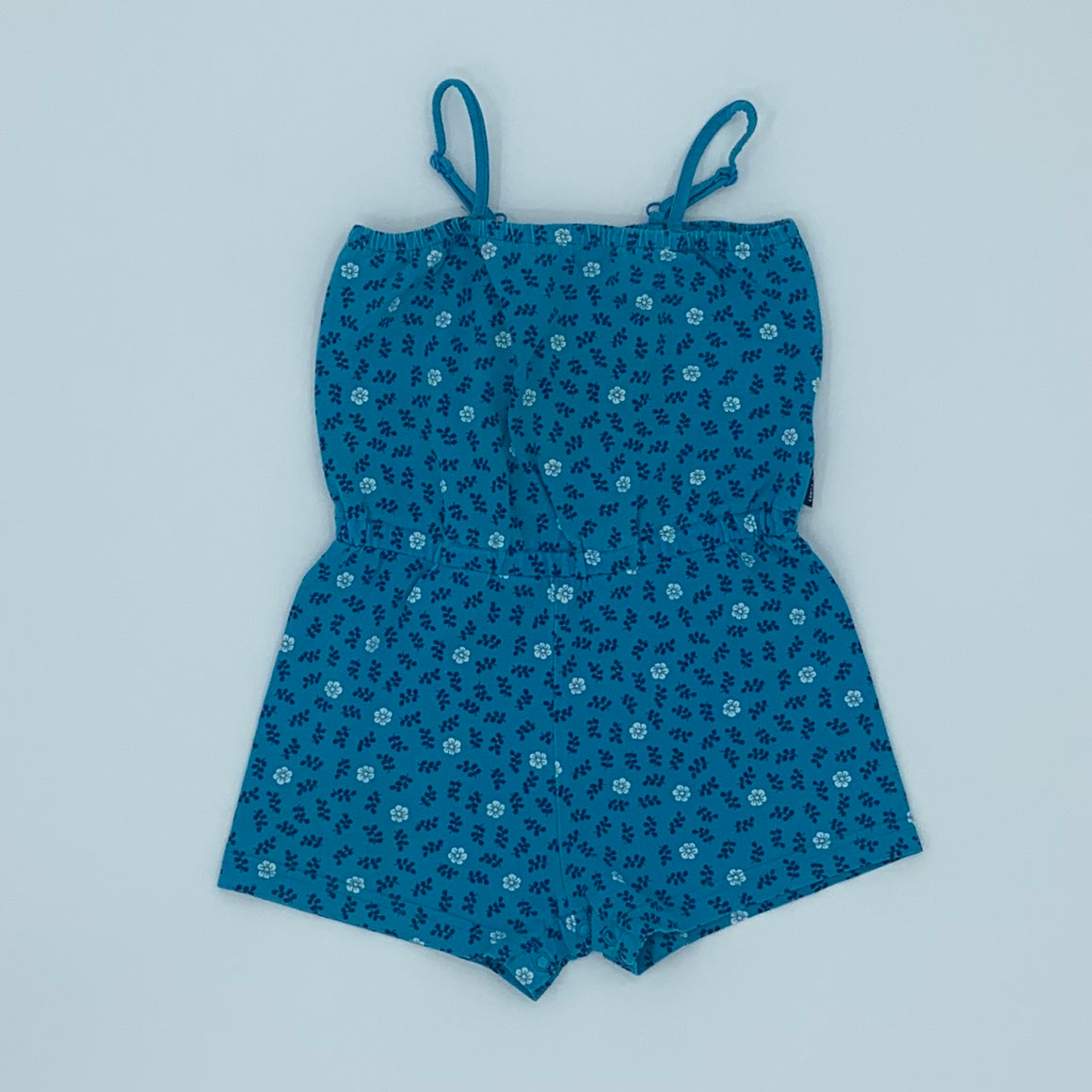 Gently Worn Polarn O Pyret blue flower playsuit size 18-24 months