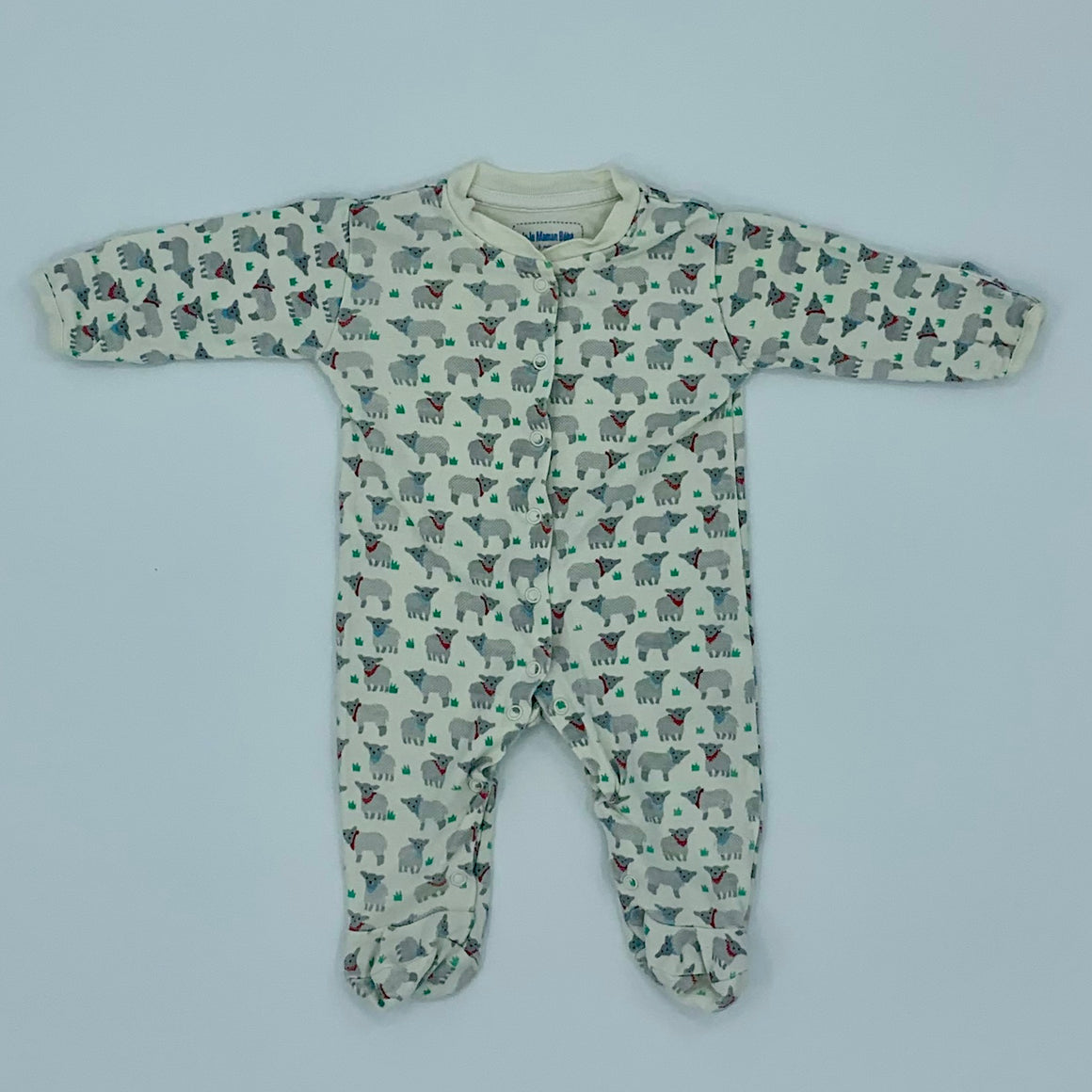 Gently Worn Jojo Maman Bebe white sheep sleepsuit size 0-3 months