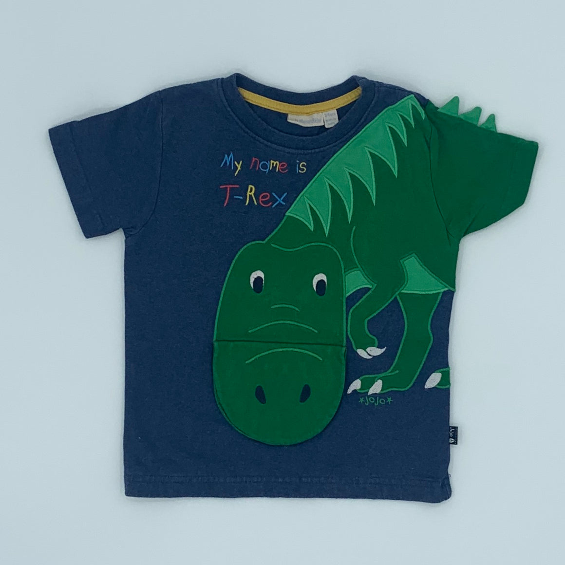 Gently Worn Jojo Maman Bebe blue t-rex t-shirt size 3-4 years